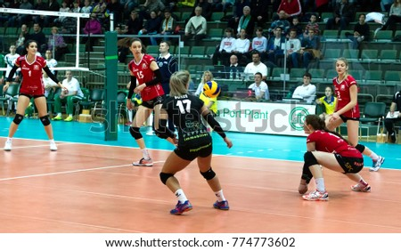 ODESSA, UKRAINE - September 12, 2017: 2018 CEV Volleyball Cup - Women. Played Khimik YUZHNY (Ukraine) - white and Zesar VFM Franches-Montagnes (Switzerland) - red. Stressed women's volleyball game