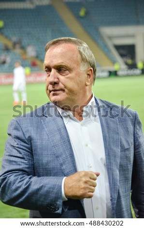 ODESSA, UKRAINE - September 15, 2016: Dick Advocaat during the UEFA Europa League match group stage Zarya Lugansk vs FENERBAHCE Istanbul, 15 September 2016, Ukraine