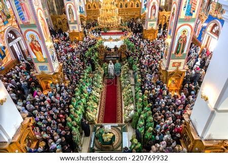 ODESSA, UKRAINE - SEPTEMBER 29: First visit Rector Ukrainian Orthodox Church Onufry, Metropolitan Kiev and All Ukraine in celebration of 190 years old monastery September 29, 2014 in Odessa, Ukraine  - stock photo