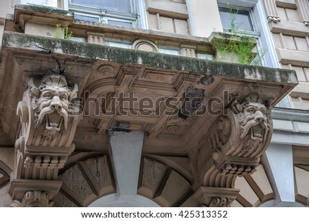 ODESSA, UKRAINE - The ruined facade of a historic building. Destroyed monuments. Old facade. Architectural detail of the damage to the outside of the castle facade. Historic ruins - stock photo