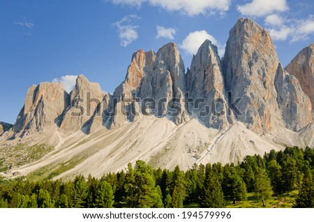 Odle Mountain Group, as seen from Rifugio Malga Glatch, Dolomites, South Tyrol, Italy