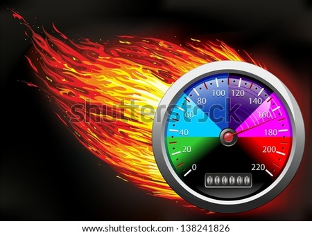 Odometer Speedometer on Fire