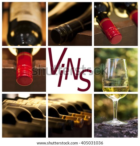 Oenology and wine concept collage, word vins, meaning wine in French - stock photo