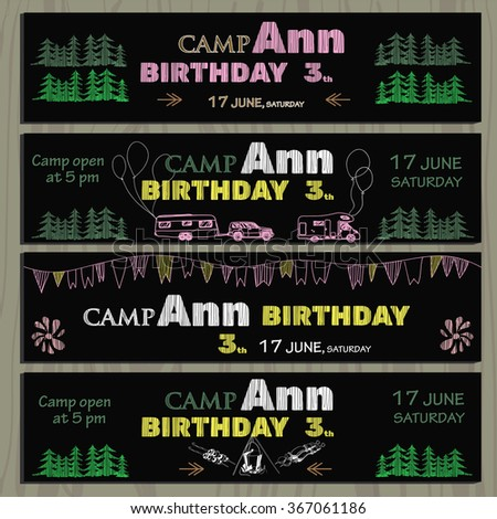 of chalk board invitation for birthday in the camping - stock photo