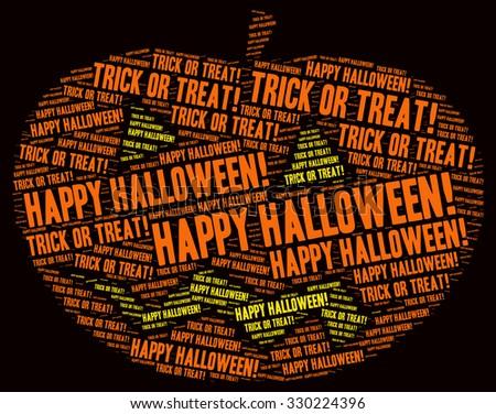 of Halloween concept word cloud in a pumpkin shape - stock photo