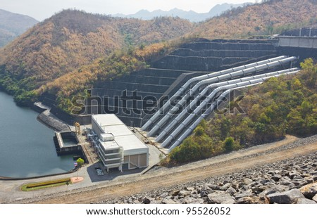 Of the dam hose to bring water to produce electricity. - stock photo