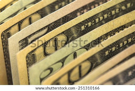 of the nominal value of banknotes - stock photo