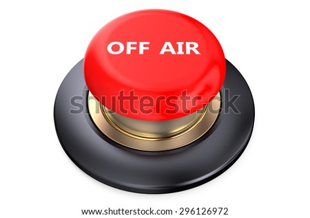 Off air Red button isolated on white background