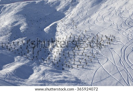 Off-piste slope at sun morning. Greater Caucasus, Mount Shahdagh. Qusar rayon of Azerbaijan. - stock photo