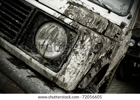 Off road car participating in off-road challenge - stock photo