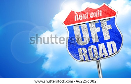 off road, 3D rendering, blue street sign