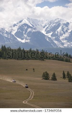 Off-Roading in the Altai Mountains - stock photo