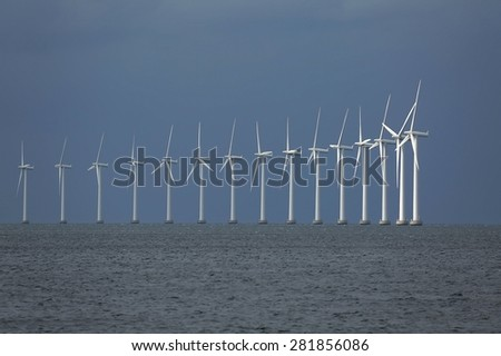 Off-shore wind turbines - stock photo