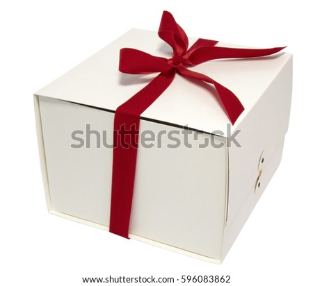 Off white gift box with red ribbon bow. Isolated.