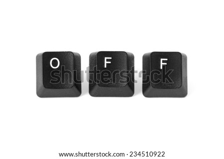 OFF word written with computer black buttons over white background