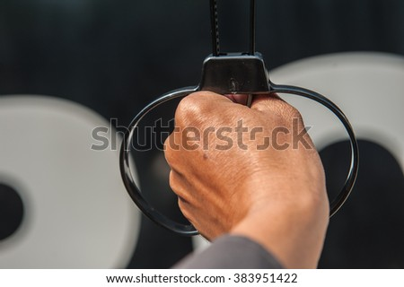 Offenders was arrested by police officers wearing wristbands freedom.   - stock photo