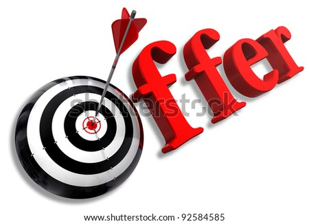 offer red word and conceptual target with arrow on white background
