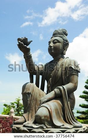 Offerer to the Giant Buddha on Lantau Island, Hong Kong - stock photo