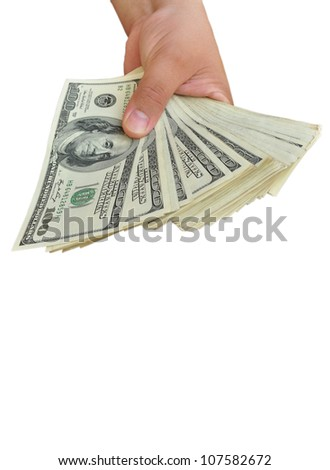 offering dollars stack in the hand isolated on white background