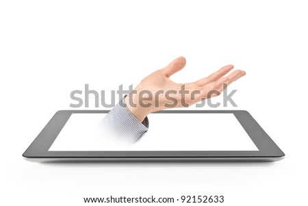 Offering Hand From Generic Contemporary Tablet. Isolated on white. - stock photo
