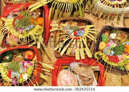 Offerings at Melasti Ceremony before Nyepi day, Bali, Indonesia - stock photo