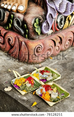 offerings in temple bali indonesia