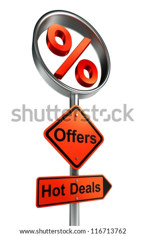 offers road sign with discount symbol and word hot deals on white background.clipping path included - stock photo