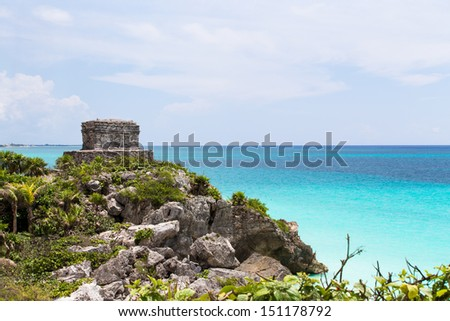 Offertories building at Tulum Mexico next to the Caribbean sea - stock photo