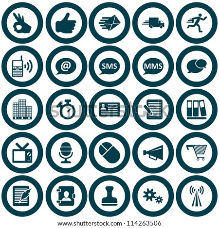 Office and communication icon set. Raster version.