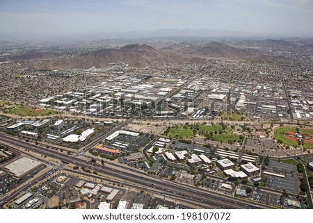 Office and light industrial district adjacent to Interstate 17 in Phoenix, Arizona - stock photo