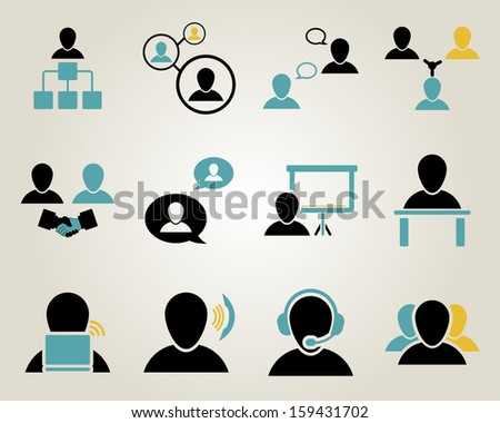 Office and people icon set.