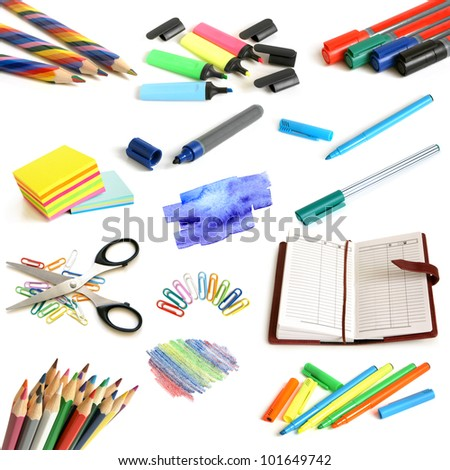 Office and school supplies collection on a white background - stock photo