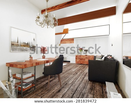 Office and Sitting Room in Interior of Modern Home with Wood Accents and Contemporary Furnishings. 3d Rendering. - stock photo