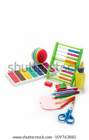 office and student accessories isolated over white background. Back to school concept.
