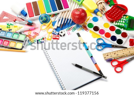 office and student accessories over white. Back to school concept. - stock photo