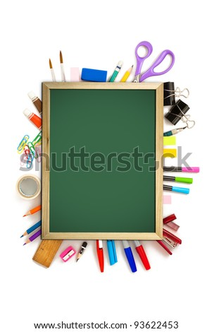 office and student tool with blackboard over white background