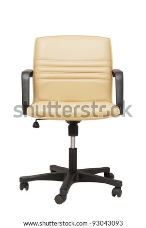 office armchair with wheels on white - stock photo