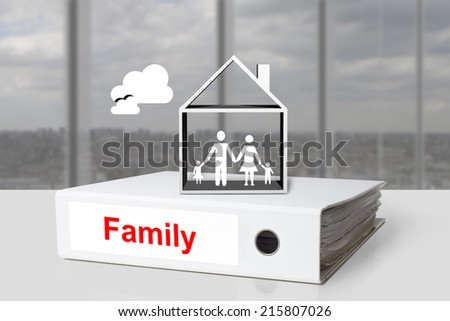 office binder family holding in house - stock photo