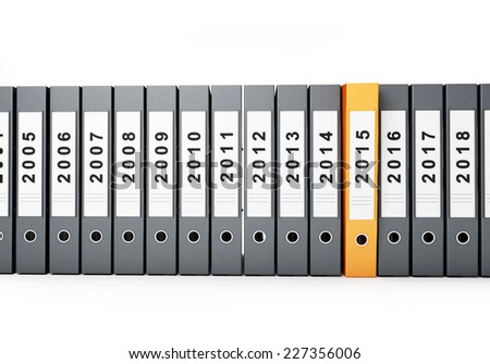 office binder new year 2015 on a white background - stock photo