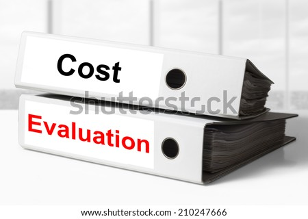 office binders cost evaluation - stock photo