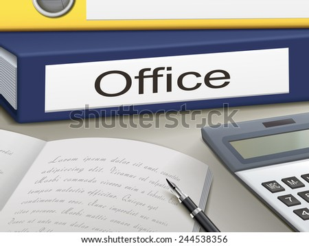 office binders isolated on the office table - stock photo