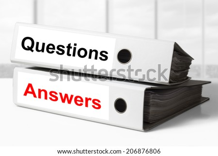 office binders question answers - stock photo