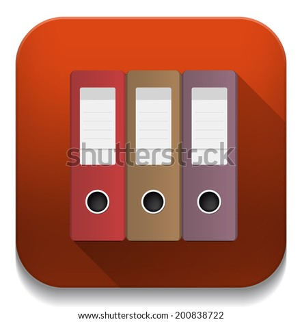 office binders With long shadow over app button