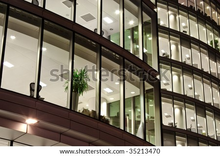 office block after business working hour - stock photo