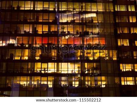 Office building at night, Paris - stock photo