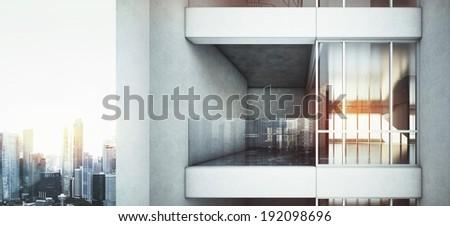 Office building balcony - stock photo