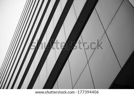 Office building, image on black an white - stock photo