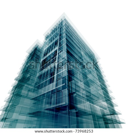 office building. Isolated on white original design - stock photo