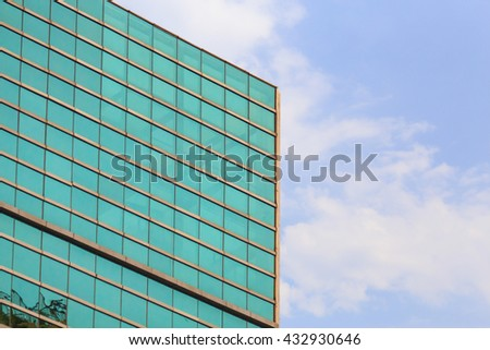 Office building on sky background.