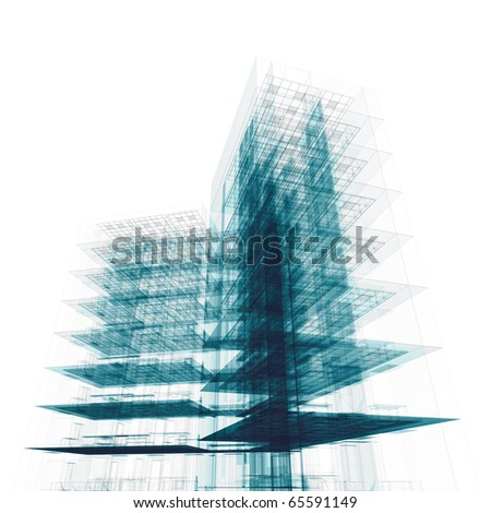 Office building on white. High resolution 3d render - stock photo